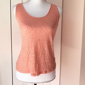 Peach Sequin Tank Top